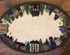 WOOL KIT and PATTERN for The Neighborhood Table Mat Applique Pattern