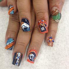 20 Denver Broncos Nail Art Ideas for Super Bowl 50 49ers Nails, Seahawks Nails, Football Nail Designs, Football Nail Art, Denver Broncos Nails, Soccer Nails, Sports Nail Art, Fan Nails, Gel Nail Art Designs