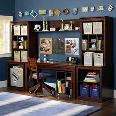 Fancy Teen Bedroom for your Children : Blue And Brown Boys Cupboard Desk Study Style
