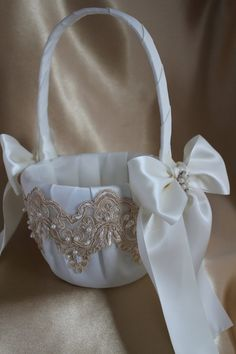 Elegant-Larger White/Cream Flower Girl by UniquelyYouBridal