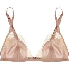 Carine Gilson Théme Egérie silk crepe de chine bra ($125) ❤ liked on Polyvore featuring intimates, bras, lingerie, underwear, bra, lingerie bras, strap bra, strappy lingerie, silk lingerie and carine gilson