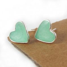 Heart stud Earrings  Light green mint Small by SigalitAlcalai, $25.00