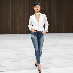 Blue jeans, white shirt... @jbrandjeans #InMyJBrand ✌️