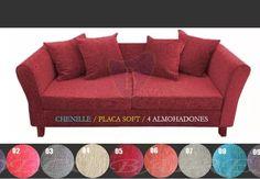 sillón 3 cuerpos en chenille + placa soft + 4 almohadones!