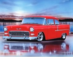 1955 Chevy 210 2 Door Sedan Hot Rod Car Art Print 11x14 55