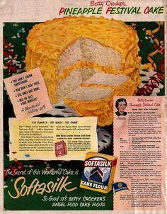 "Softasilk Cake Flour Ad    ""Better Homes and Gardens""  October 1950"