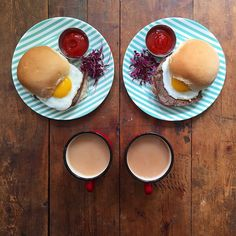 Instagram media symmetrybreakfast - Monday: Thank goodness for Bank Holidays. Steak and egg sandwich with ketchup and a builders tea served on @patternity for @fortnumandmason. Possibly one of the greatest hangover cures of all time 😍 #symmetrybreakfast