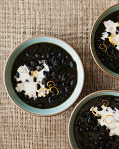 Black Bean Soup with Meyer Lemon Crème Fraîche