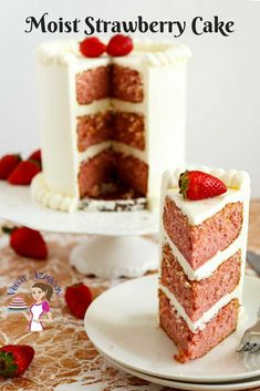 A moist strawberry cake can be an absolute treat eaten on its own or frosted with whipped cream or buttercream. This simple, easy and effortless recipe makes the most decadently rich, moist and light strawberry cake that melts in the mouth. Serve it on its own unfrosted as a coffee cake, frost it with whipped cream for a light dessert or with rich decadent buttercream for a more indulgent treat.