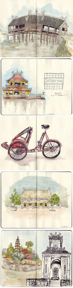 sketches of Hué, Vietnam, by Faustine Clavert. The citadel, vietnamese bicycle, pagoda, tomb and japanese bridge. #sketches #vientam #hue #watercolor #iltawo #urbansketcher