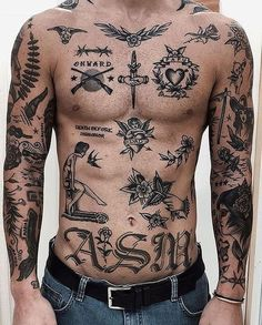 Search inspiration for an Old School tattoo. Search inspiration for an Old School tattoo. Torso Tattoos, Old Tattoos, Trendy Tattoos, Body Art Tattoos, Sleeve Tattoos, Old School Tattoos, Celtic Tattoos, Full Body Tattoos, Old School Ink