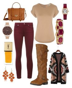 """""""Fall #4🍃"""" by mari-brown-i on Polyvore featuring 7 For All Mankind, Avon, GiGi New York, Olivia Burton, 1st & Gorgeous by Carolee and Yves Saint Laurent"""