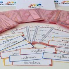 """""""Lista de la compra"""". Actividad para que niños de 3 a 6 años se acerquen a la lectoescritura con el tipo textual: lista de la compra. En varios idiomas y tipos de fuente."""