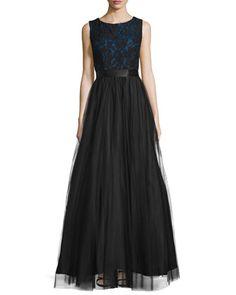 Sleeveless Lace-Bodice Ball Gown, Black/Indigo by Aidan Mattox at Neiman Marcus.