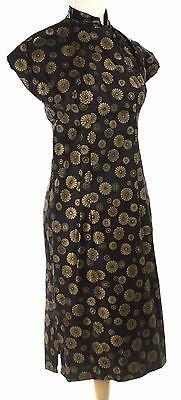 Vintage-Cheongsam-Dress-Gold-on-Black-Chrysanthemum-Print-Sz-Small-Hey-Viv
