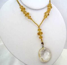 Vintage Gold  Crystal Necklace with Glass by VintagObsessions