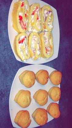 Cupcakes met aardbij en een roulé met aardbij