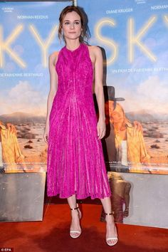 Diane Kruger dazzles in fuchsia dress at premiere of new movie Sky - Celebrity Fashion Trends