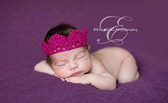 Baby Crown Crochet Crown Hot Pink Crown Princess Crown by justborn, $14.00