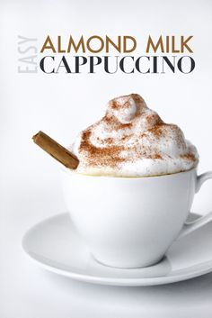 Easy Almond Milk Cappuccino | Dairy Free, Vegan And Paleo Friendly!Perfect for a midday pick-me-up, this Almond Milk cappucino will cap off your caffeine needs.