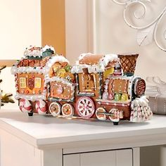 Winter Lane Fiber Optic Gingerbread Train Decoration at HSN.com.