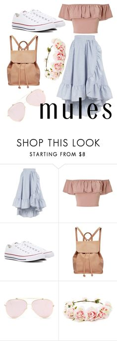 """Frills to pay bills 💵"" by jaydemmulcahy ❤ liked on Polyvore featuring Maje, Miss Selfridge, Converse, Urban Originals and Forever 21"