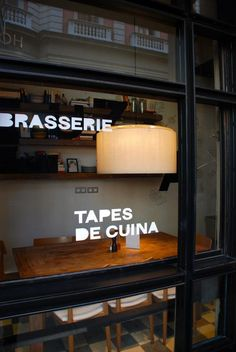 Tapas De Cuina Brasserie Restaurant Storefront Window Decals Restaurant Design, Restaurant Bar, Restaurant Interiors, Tapas, Café Bistro, Air Popped Popcorn, Eating Before Bed, Food Places, Shop Front Design