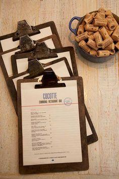 restaurant menu design. Interesting idea with clipboard. clean type, nice grid structure