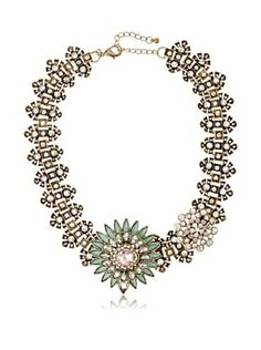 Leslie Danzis Green Garland Asymetrical Jeweled Necklace