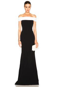 Roland Mouret Lamble Boucle Lace & Viscose Gown in Black & White | FWRD