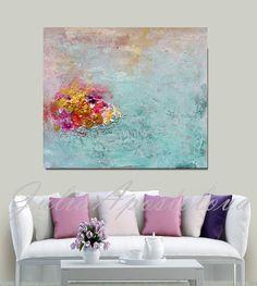 Minimalist Painting Turquoise and Pink Gold por JuliaApostolova