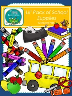 This darling pack of school supplies is sure to help you with those cute little extras you might need in your classroom. All images are hand drawn and brightly colored.Black and white images are included but not shown in the preview. The images have high resolution and are in .png format so they can easily used.Lil' Frog Illustrations are created by Shaunna Page.