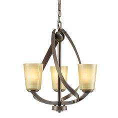 Kichler Lighting Layla 17.2-in 3-Light Olde Bronze Etched Glass Shaded Chandelier