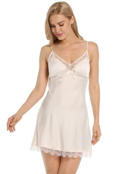 Lightweight, soft and silky slip made with sleek high quality fabric to give a luxurious look and a nice flowAdjustable straps and elastic upper band to ensure the nightgown a comfortable fit, v-neckline A-line silhouetteCups not see-through wi. Silk Sleepwear, Sleepwear Women, Lingerie Sleepwear, Nightwear, Lace Slip, Silk Slip, Satin Slip, Vestido Baby Doll, Actrices Sexy