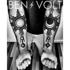 #Sol and #Luna. A pair of strong #decorative #geometric radiating #sun and #moon pieces for each of Alexis's children of the same names. Thanks for coming from Texas to see me! #benvolt #blackwork #tattoo #tattoos #graphicdesign #sanfrancisco #blxckink #blackworkerssubmission #blacktattooart #equilatera #tattooartistmagazine