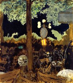Edouard Vuillard - Café in the Bois de Boulogne at Night - The Garden of the Alcazar Post-impressionism Edouard Vuillard, Beaux Arts Paris, Pintura Exterior, Pierre Bonnard, National Gallery Of Art, Post Impressionism, Art Institute Of Chicago, Nocturne, French Artists