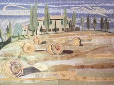 PATRIZIA HODGE, Tuscan Hay Bales, collage on paper, 64x48cm. Vote for your favourite artwork from our 50 shortlisted Artists of the Year > http://www.artistsandillustrators.co.uk/shortlist2017 #AOTY2017