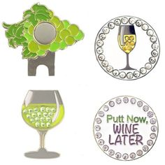 This pack includes a grapes hat clip with your favorite white wine bling markers: white wine, glass of white wine, and putt now.