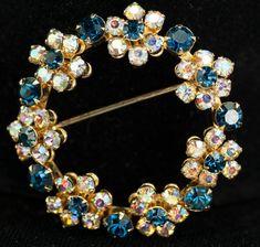Weiss Brooch  Blue Clear Rhinestone Floral Circle Brooch