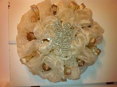 Gold Christmas deco mesh wreath
