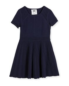 Z1QFX Milly Minis Short-Sleeve Textured Fit-and-Flare Dress, Blue, Size 8-14