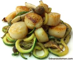 Pan-Seared Scallops on a Bed of Zucchini Noodles