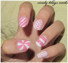 cindy blogs nails: NOTD white and pink nail art