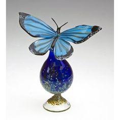 Loy Allen Blue Morpho Bottle Art Glass Perfume Bottle