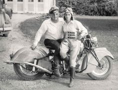 This is one cool couple || vintage motocycle photo