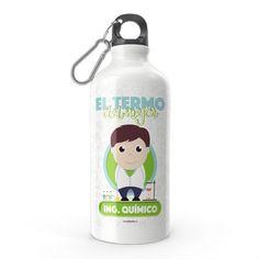 Termo - El termo del mejor ingeniero químico, encuentra este producto en nuestra tienda online y personalízalo con un nombre. Water Bottle, Drinks, Carton Box, Store, Crates, Drinking, Beverages, Water Bottles, Drink