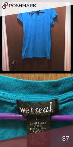 Blue basic scoop neck t shirt Great for adding some color to your wardrobe. Blue basic scoop neck t shirt from wet seal. Runs a little small. Gently used. Will be washed and steam ironed before shipping. Price negotiable. Wet Seal Tops Tees - Short Sleeve