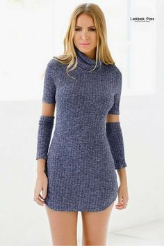 Street Style // Rock the street scene this Winter in this unique but cozy blue melange turtleneck tunic. Deep V Dress, New Instagram, Jacket Dress, Clubwear, Cute Dresses, Bodycon Dress, Turtle Neck, Tunic, Street Style