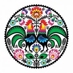 Polonais broderie florale avec des coqs - motif folklorique traditionnelle Banque d'images - 18755134