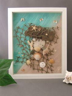 Sand Dollar Driftwood and Seashell Framed by CraftyShells on Etsy